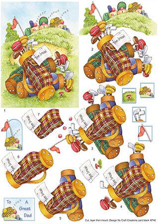 Golfers Tee Break SBS Decoupage Sheet