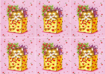 Kitten in Bag Hearts Classic Decoupage Sheet