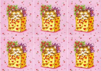 Kitten in Bag Hearts Classic Decoupage Sheet