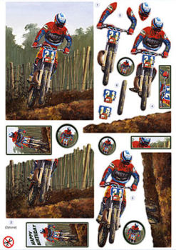 Motorcycle Scrambler Diecut Decoupage Sheet