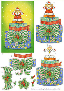 Mouse Santa & Presents SBS Decoupage Sheet