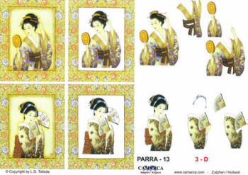 Framed Oriental Ladies SBS Decoupage Sheet