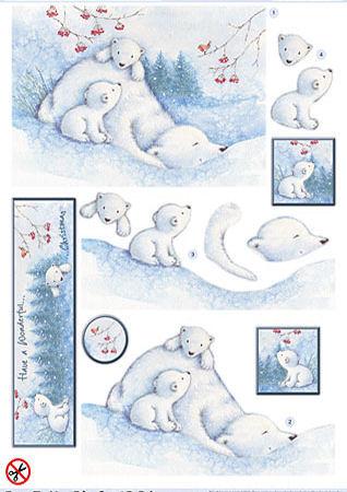 Polar Bears Diecut Decoupage Sheet