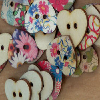 Printed Large Wooden Heart Buttons Pack of 10