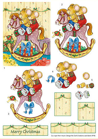 Rocking Horse Mice SBS Decoupage Sheet