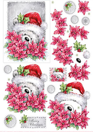 Santa Bear Diecut Decoupage Sheet