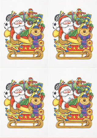 Santa with Toys & Sled Classic Decoupage Sheet