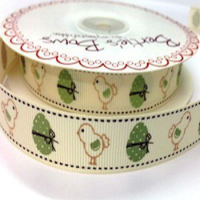 Vintage Chick & Egg Grosgrain Ribbon
