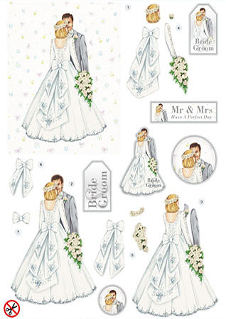 White Wedding Diecut Decoupage Sheet