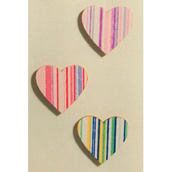 Wooden Striped Heart Embellishments