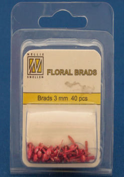 Red Glitter Floral Brads