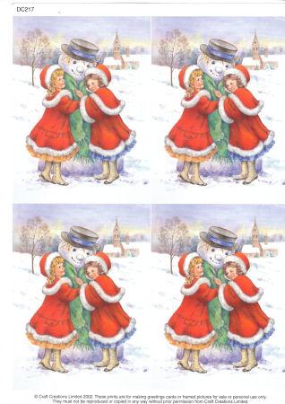Victorian Girls & Snowman Classic Decoupage Sheet