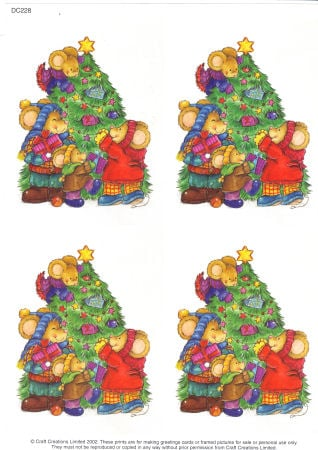 Mice Decorating Tree Classic Decoupage Sheet