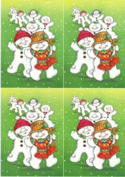 Dancing Line of Snowmen Classic Decoupage Sheet