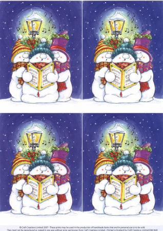 Snowmen Carol Singers Classic Decoupage Sheet