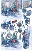 Christmas Motorbikes Diecut Decoupage Sheet