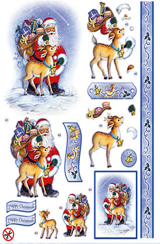 Santa Claus with Rudolph Diecut Decoupage Sheet