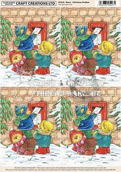 Bears - Christmas Post Box Classic Decoupage Sheet