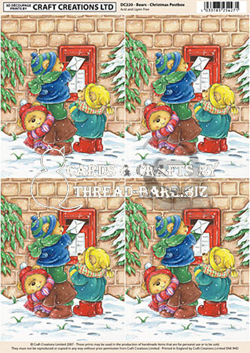 Bears - Christmas Post Box Classic Decoupage Sheet