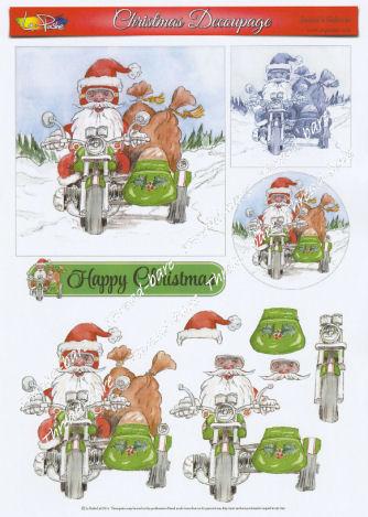 Santa's Sidecar Decoupage Sheet