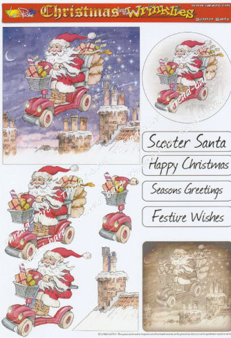 Scooter Santa Decoupage Sheet