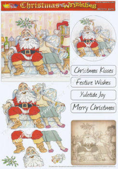 Mistletoe Santa Decoupage Sheet