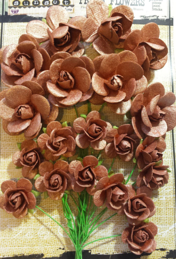 Sunise Sunset Paper Mini Roses - Copper