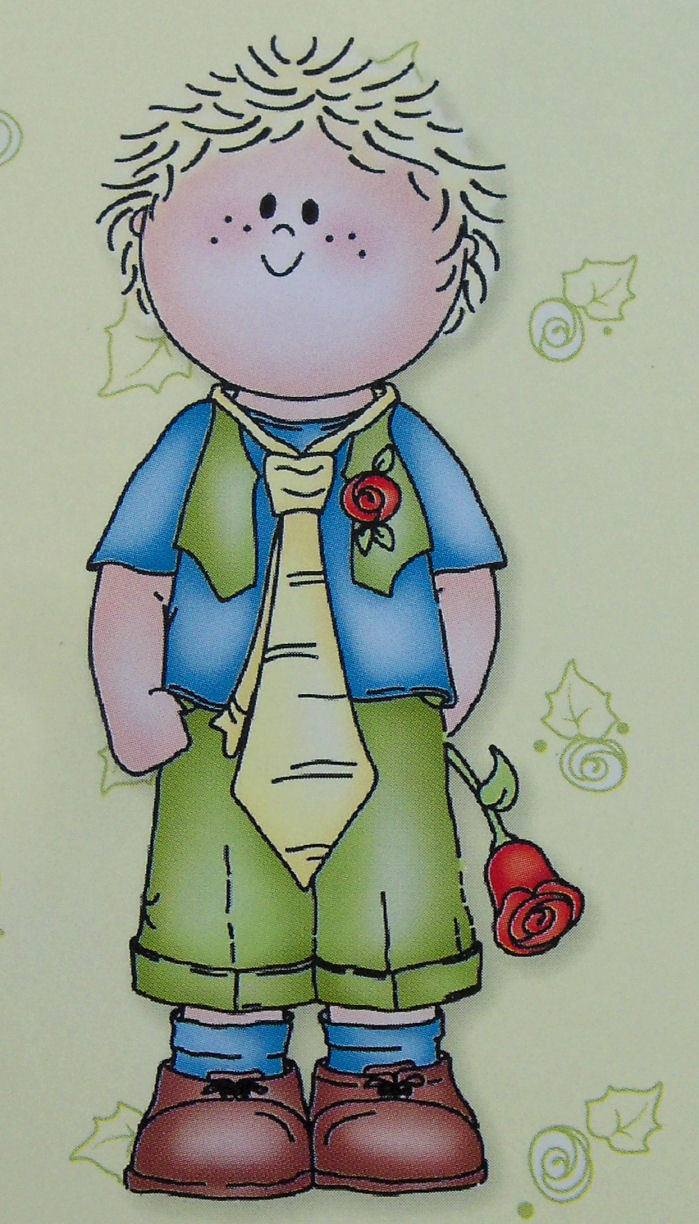 Bambinie Boy with Rose Clear Stamp