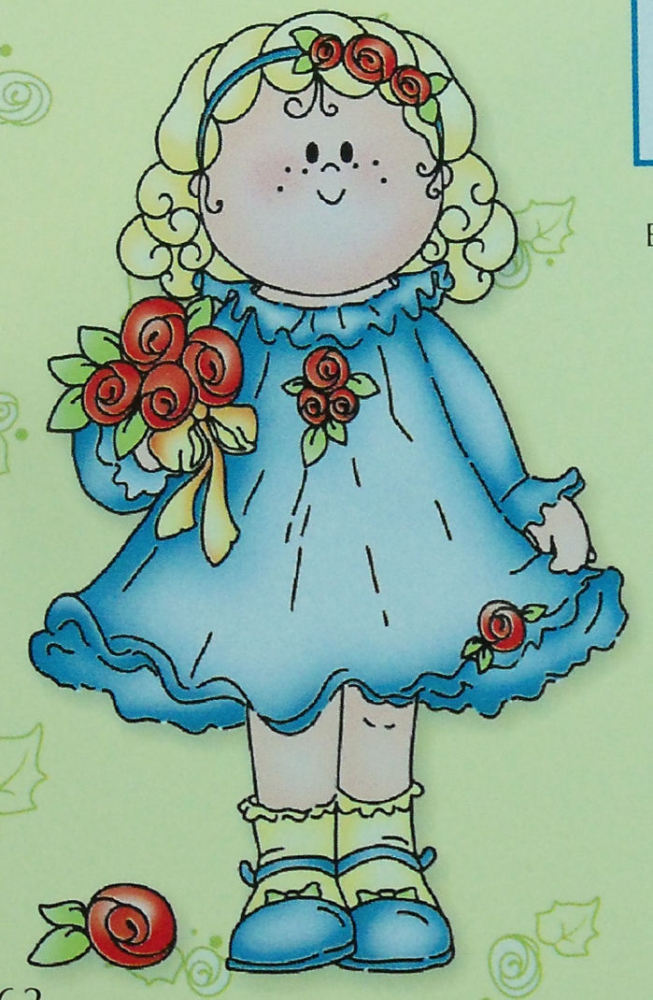 Bambinie Girl with Roses Clear Stamp