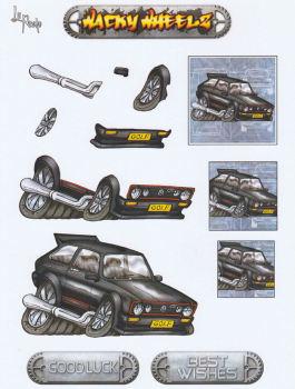 Wacky Wheelz VW Golf Decoupage Sheet