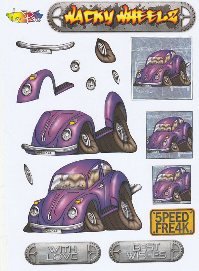 Wacky Wheelz VW Beetle Decoupage Sheet