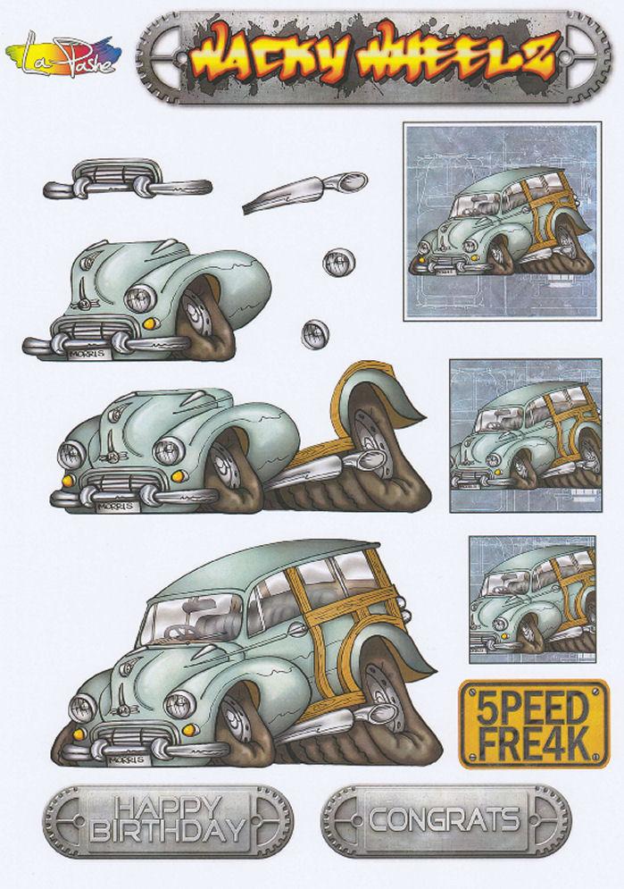 Wacky Wheelz Morris Minor Decoupage Sheet