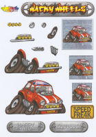 Wacky Wheelz Mini Decoupage Sheet