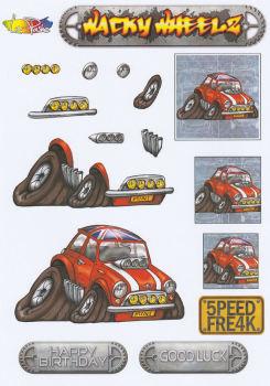 Wacky Wheelz Mini Decoupage Sheet
