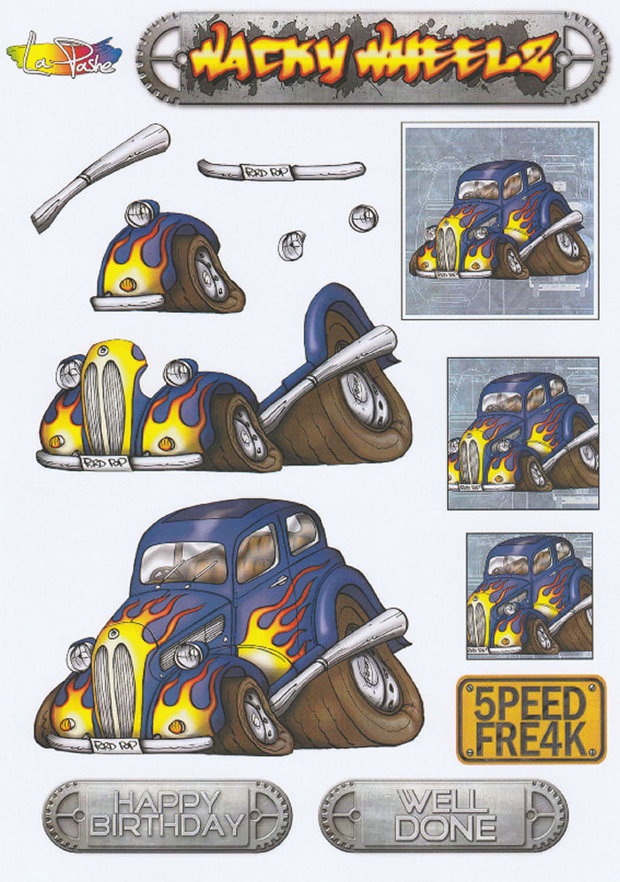 Wacky Wheelz Ford Popular Decoupage Sheet