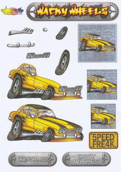Wacky Wheelz Ford Capri Decoupage Sheet