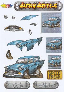 Wacky Wheelz Ford Anglia Decoupage Sheet