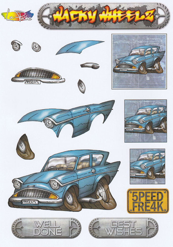 Wacky Wheelz Ford Anglia Decoupage Sheet
