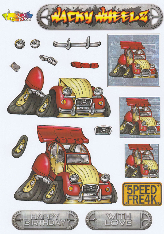 Wacky Wheelz Citreon 2CV Decoupage Sheet