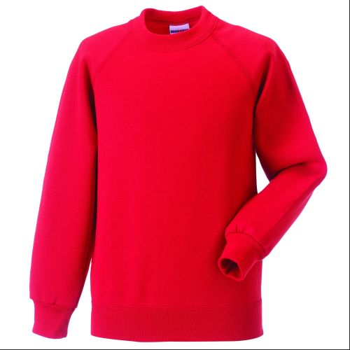 Red Classic Crew Neck Sweat Embroidered with School Logo