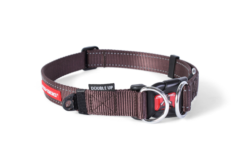 Double Up Dog Collar - Chocolate - Large