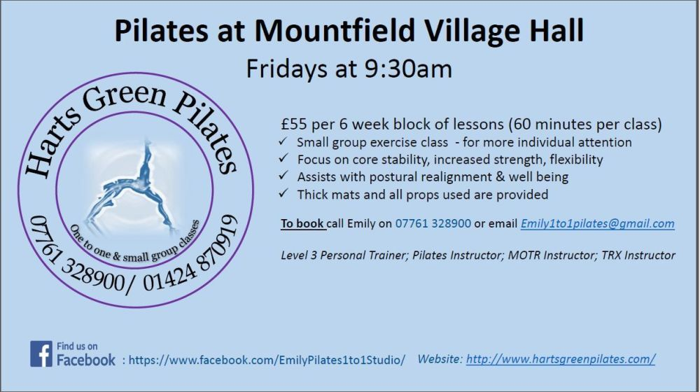 Mountfield Pilates Classes May 2018