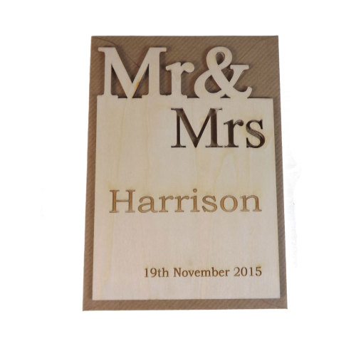 Wooden Personalised Mr & Mrs Wedding Card