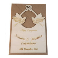 Wooden Personalised Engagement Ring Card