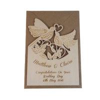 Wooden Personalised Wedding Card