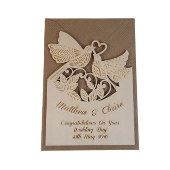 Wooden Personalised Wedding Card