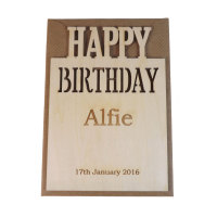 Wooden Personalised Birthday Card