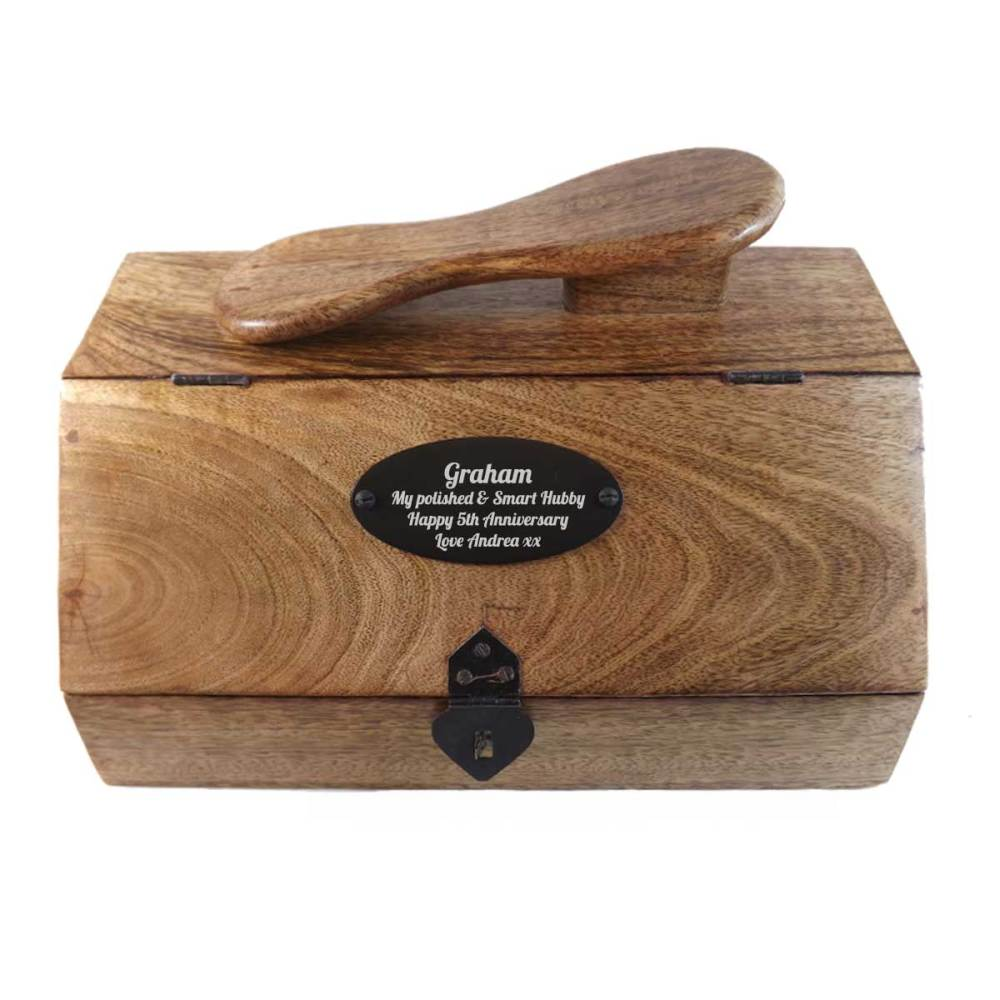 Wooden Shoe Shine Box Personalised for 5th Anniversary Gift