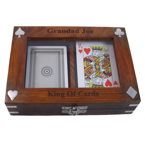 Personalised Wooden Playing Card Box Ideal Birthday Gift. Includes 2 FREE d