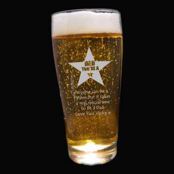 Dad you're a Star Personalised Pint Glass - Father's Day Gift